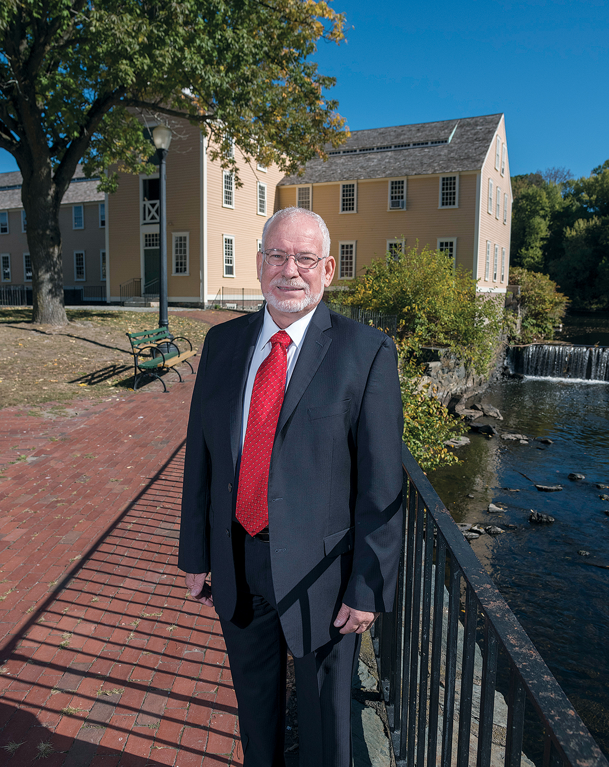 CONNECTING: Avi Nevel, founder of the Rhode Island-Israel Collaborative, a nonprofit organization seeking to establish business, academic and trade exchanges with Israel, at Old Slater Mill in Pawtucket. / PBN PHOTO/MICHAEL SALERNO
