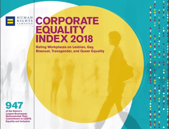 THREE RHODE ISLAND COMPANIES and several Massachusetts companies with Rhode Island operations scored a perfect 100 score on the 2018 Corporate Equality Index, a report assessing a company's LGBTQ inclusion policies. / COURTESY THE HUMAN RIGHTS CAMPAIGN