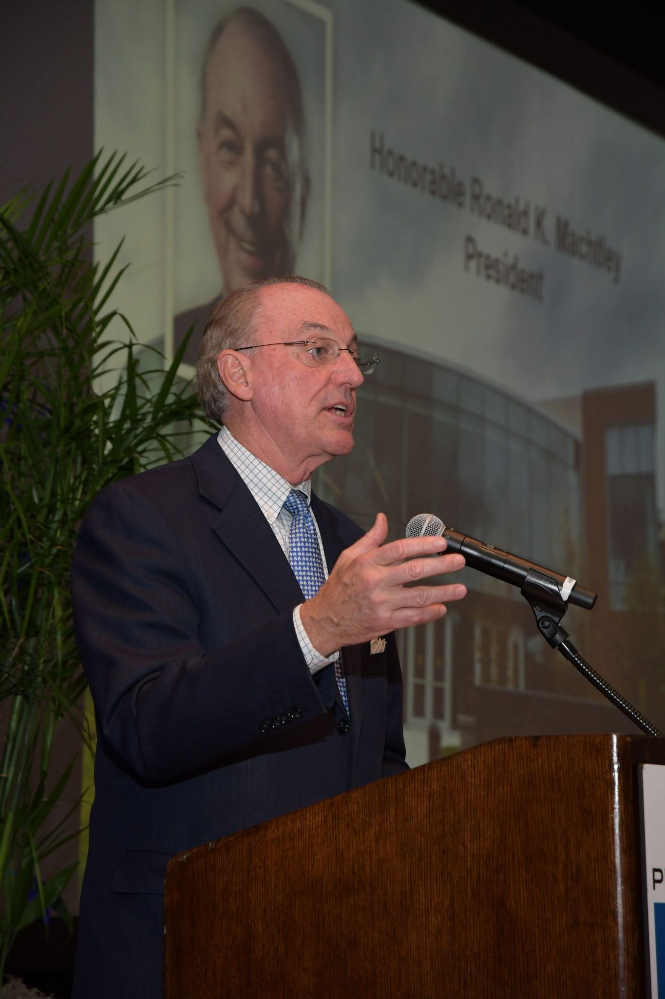 BRYANT UNIVERSITY PRESIDENT Ronald K. Machtley gave the keynote speech at the 2017 Business Excellence Awards dinner. He emphasized how worthy all this year's winners were for their accomplishments. / PBN PHOTO/MIKE SKORSKI