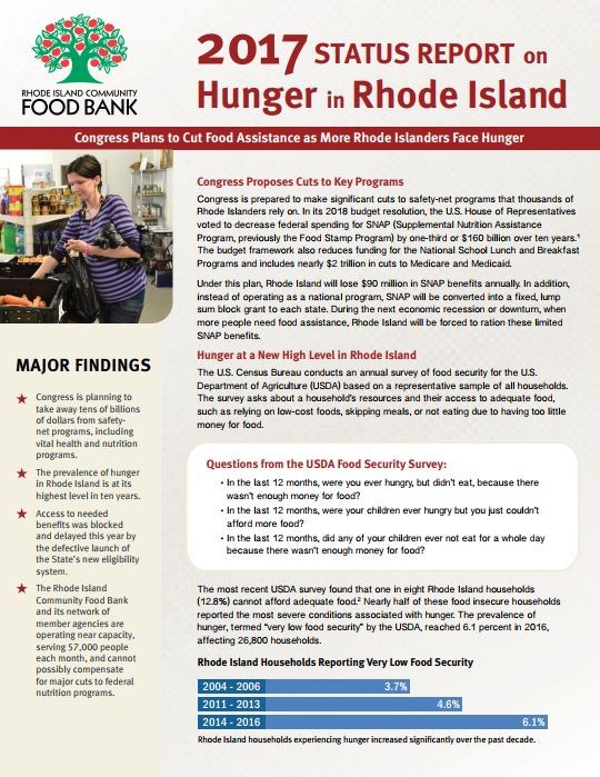 THE RHODE ISLAND COMMUNITY Food Bank found that hunger in Rhode Island is rising, and that the poverty rate in Rhode Island was the highest in New England in 2016. / COURTESY RHODE ISLAND COMMUNITY FOOD BANK
