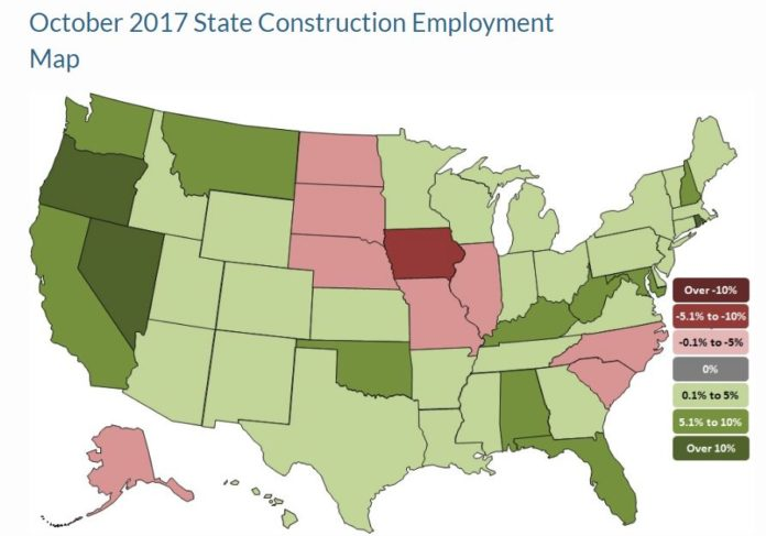 RHODE ISLAND HAD the second-highest year-over-year construction growth rate in October in the nation. / COURTESY ASSOCIATED GENERAL CONTRACTORS OF AMERICA