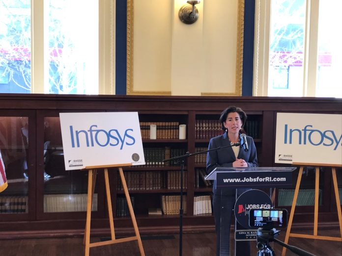 GOV. GINA M. RAIMONDO announced Monday that information technology giant Infosys has committed to creating a Design and Innovation Hub in Providence, with the expectation that the company will have 500 employees in the Ocean State by 2020. / PBN PHOTO/CHRIS BERGENHEIM
