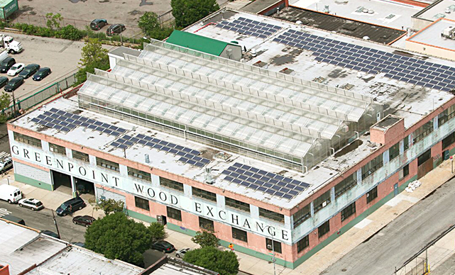 The flagship urban greenhouse of Gotham Greens was built in 2011 in Brooklyn, atop the Greenpoint Wood Exchange building./COURTESY GOTHAM GREENS HOLDINGS.