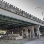 THE R.I. DEPARTMENT OF TRANSPORTATION has awarded 6/10 Constructor a contract to rebuild the 6-10 Interchange in Providence. In a photo taken in the summer of 2015, one of the bridges of the interchange, just south of Westminster St., temporary braces put in by RIDOT 15 years ago were showing signs of deterioration themselves. / PBN FILE PHOTO/ MICHAEL SALERNO