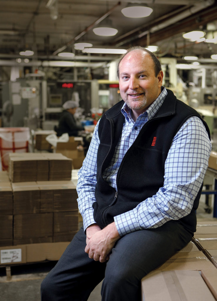 Stuart R. Benton has been CEO and president of Bradford Soap Works for a year and a half, following a stint as chief financial officer for more than five years. He started his career as a certified public accountant. / PBN PHOTO/RUPERT WHITELEY