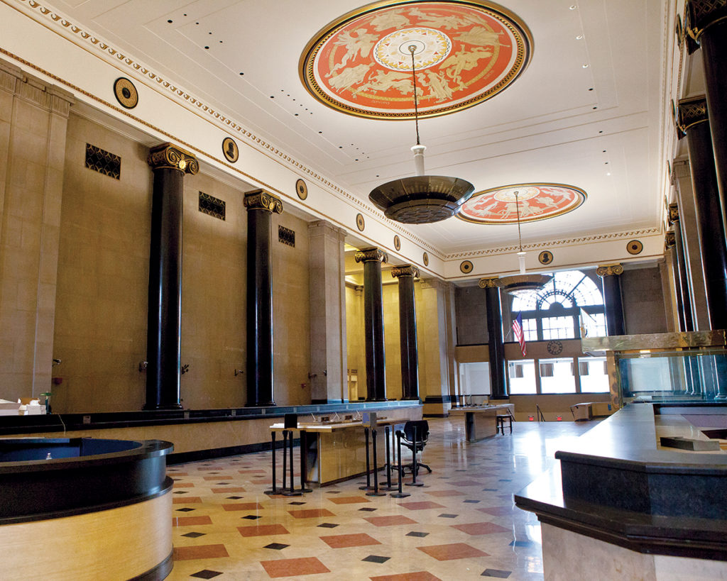 "PAST GLORY? The lobby of the former Bank of America branch in the Industrial Trust (or ""Superman"") building reveals design and materials that hint at its Art Deco distinction.  / PBN FILE PHOTO/TRACY JENKINS"