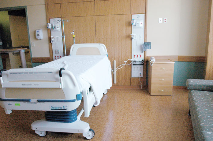 SURPLUS: With most Rhode Island hospitals experiencing a decline in patients since 2006, and falling demand for inpatient services, the state has a surplus of hospital beds. Shown above is a patient room from The Miriam Hospital in Providence. / COURTESY LIFESPAN CORP.