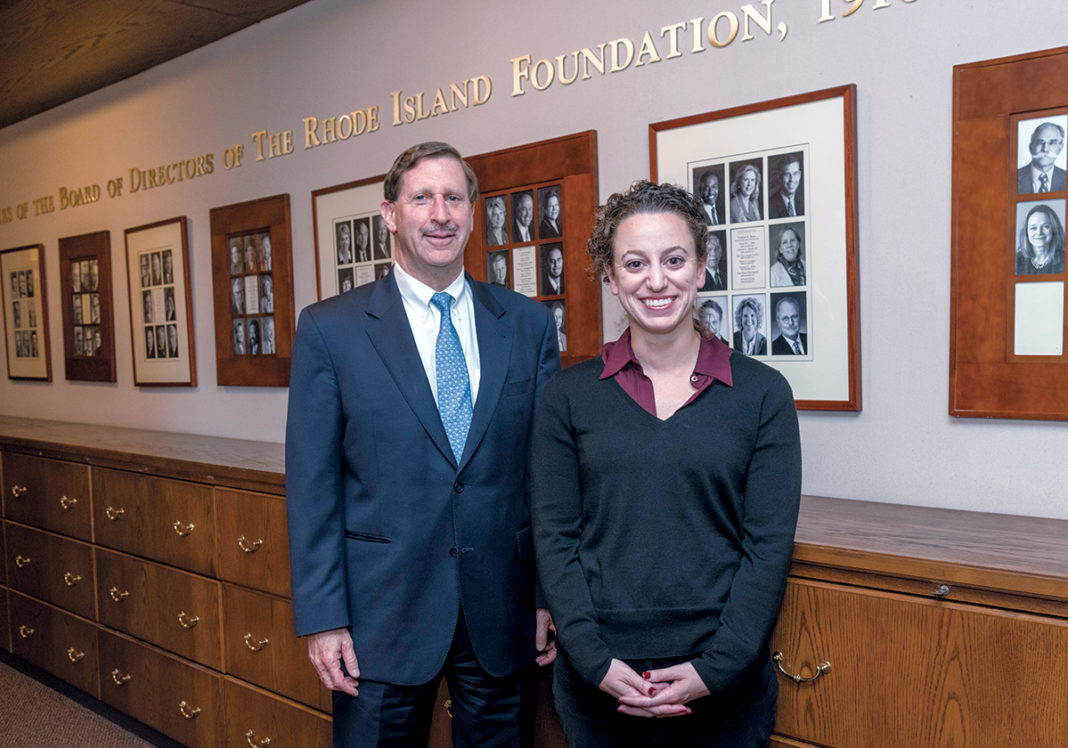 INVESTED: Rhode Island Foundation President and CEO Neil D. Steinberg and Jessica David, senior vice president of strategy and community investments, have helped launch 12 Rhode Island entrepreneurs through RIF's innovation fellowship program. / PBN PHOTO/MICHAEL SALERNO
