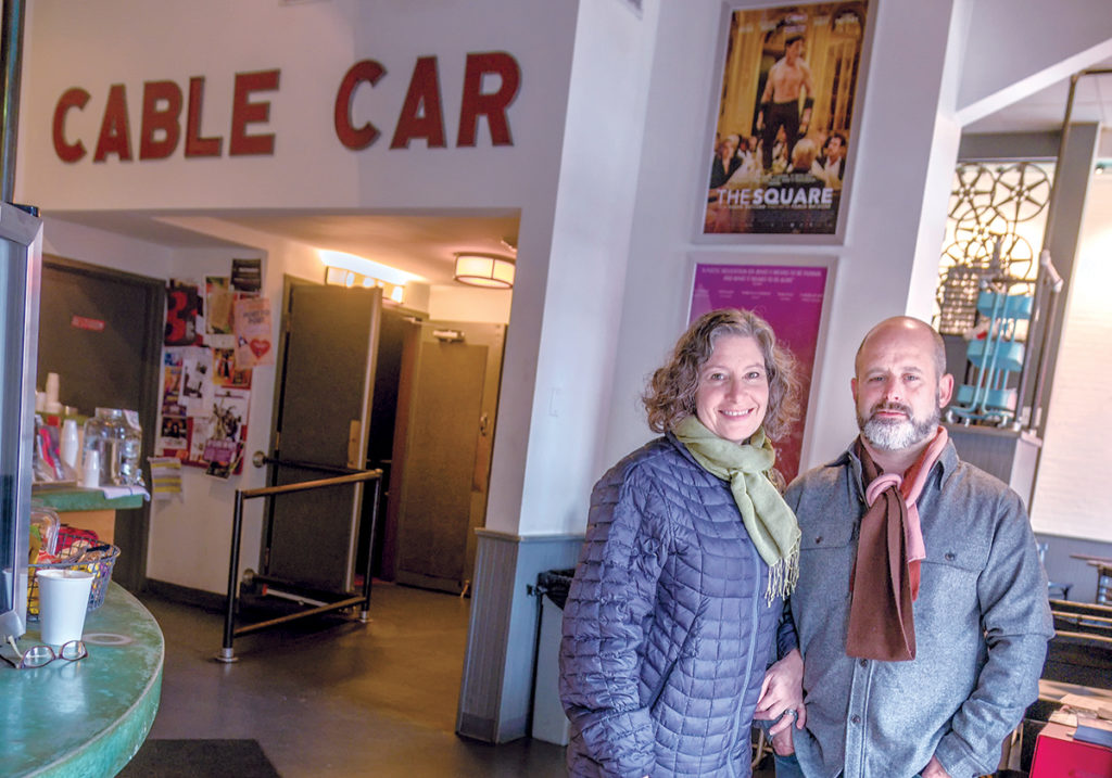FILM LOVERS: Husband and wife team Daniel Kamil and Emily Steffian, co-owners of the Cable Car Cinema and Café in Providence, recently wrapped up the third year of the Art and Design Film Festival. / PBN PHOTO/MICHAEL SALERNO