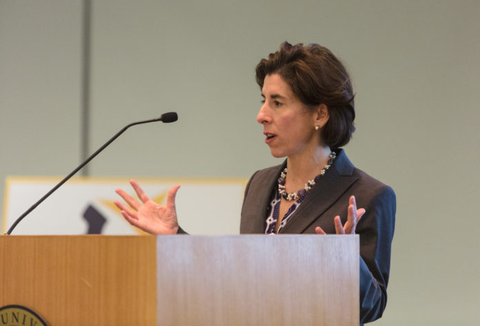 GOV. GINA M. RAIMONDO announces a new goal for the CS4RI Inititive at the CS4RI Summit Wednesday: double the number of computer science graduates in Rhode Island by 2025. / PBN FILE PHOTO/RUPERT WHITELEY