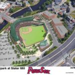 "A RENDERING OF THE PROPOSED ""Ballpark at Slater Mill."" / COURTESY PAWTUCKET RED SOX"