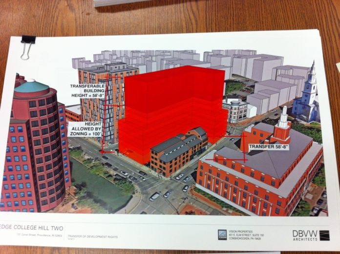 A PHOTO OF a rendering by DBVW Architects, the proposed building is shown in red. The building to its left is the Edge College Hill building now under construction. The historical building on the site is at right. /PBN FILE PHOTO/MARY MACDONALD