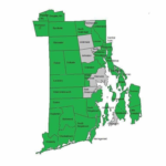 THIRTY-TWO RHODE ISLAND municipalities (in green) have called on Gov. Gina M. Raimondo to become more involved in debate of a proposed gas-fired power plant in Burrillville. Two municipalities in Massachusetts and one in Connecticut, which neighbor Burrillville, also oppose the project. / COURTESY TOWN OF BURRILLVILLE
