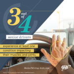 MANY OLDER DRIVERS do not make inexpensive adaptations to their vehicles that can improve safety and extend their time behind the wheel, a report from AAA shows. / COURTESY AAA