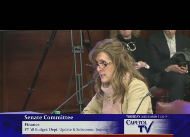 TRISTA PICCOLA, R.I. Department of Children, Youth and Families director, says the department faces a $10 million deficit in 2018. / COURTESY CAPITOL TV