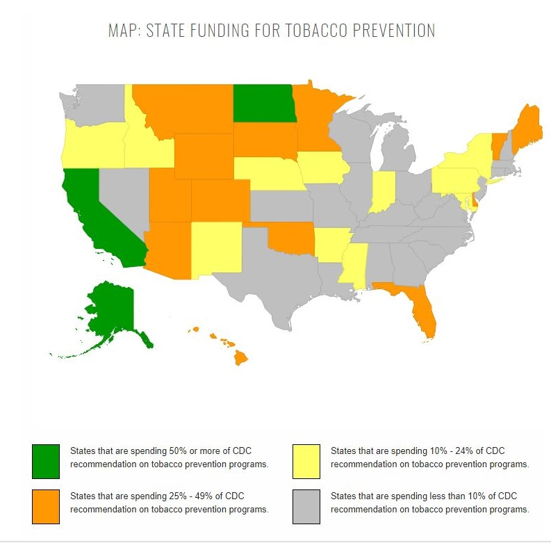 RHODE ISLAND ranked No. 40 in the nation for state spending as a percentage of CDC recommended spending for tobacco use prevention and quitting programs. / COURTESY CAMPAIGN FOR TOBACCO-FREE KIDS