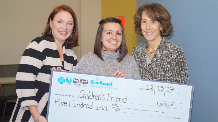 STEPHANIE VITO, team leader in the corporate affairs division of Blue Cross & Blue Shield of Rhode Island, was named 2017 BlueAngel of the Year by the company for donating $500 from BCBSRI to Children's Friend, a Providence-based youth social services nonprofit organization. Pictured, from left, with the check: Carolyn Belisle, BCBSRI managing director of community relations; Vito; and Kim Keck, BCBSRI president and CEO. / COURTESY BLUE CROSS & BLUE SHIELD OF RHODE ISLAND