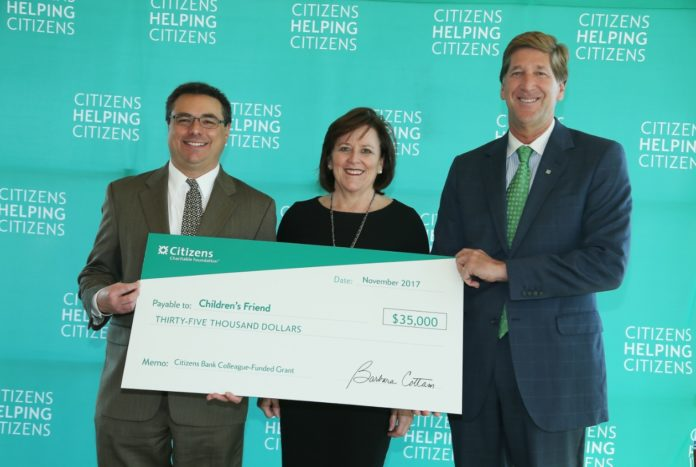 FROM LEFT, DAVID CAPRIO, president and CEO of Children's Friend, poses with Barbara Cottam, chairman of the Citizens Charitable Foundation, and Bruce Van Saun, chairman and CEO of Citizens Bank, at a recent event, where a $35,000 grant was presented from Citizens Charitable Foundation to Children's Friend. / COURTESY CITIZENS CHARITABLE FOUNDATION