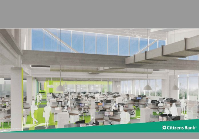 AN INTERIOR RENDERING of the new 420,000-square-foot Citizens Financial Group Inc. corporate campus in Johnston. The facility is on schedule to be completed in time for employees to start working there in August. / COURTESY CITIZENS BANK