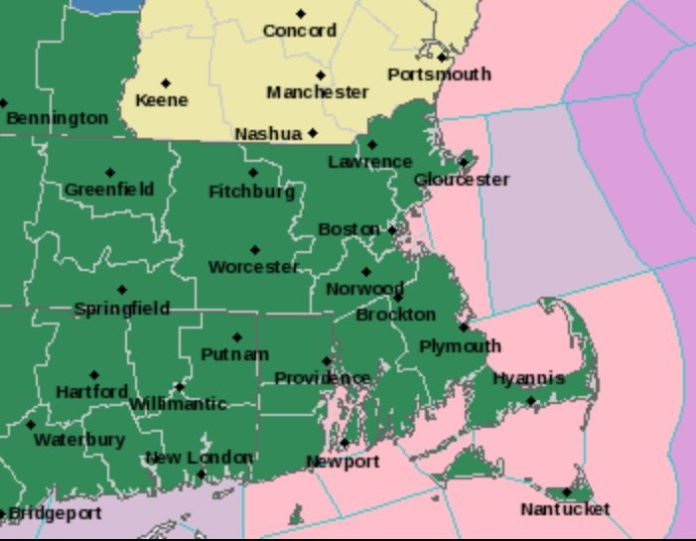 THE NATIONAL WEATHER SERVICE issued a flood warning for all of Rhode Island and Massachusetts ahead of Friday's warm weather and expected rain. / COURTESY NWS