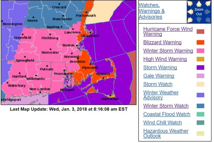 THE NATIONAL WEATHER SERVICE has predicted blizzard conditions in parts of Massachusetts and Block Island and issued a winter storm warning for all of Rhode Island. / COURTESY NWS