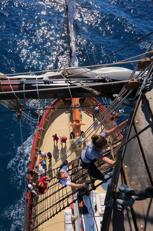 STUDENTS ONBOARD THE 200-foot-tall SSV Oliver Hazard Perry, Rhode Island's official sailing-education vessel, which has released its 2018 program schedule, featuring a full year of travel with stops in Charleston, S.C., St. Petersburg, Fla., Cuba and Jamaica. / COURTESY MARK RUSSELL