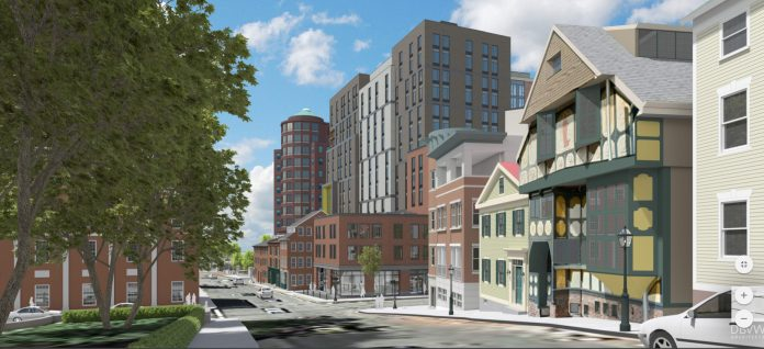 THE DOWNTOWN DESIGN Review Committee held a public hearing and conceptual design review on Jan. 22 for the initial renderings of a 15-story building proposed for the base of College Hill in Providence. / COURTESY DBVW ARCHITECTS