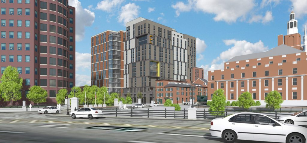 THE PROPOSED BUILDING at 131 Canal St. in Providence would include 227 apartments marketed to students, over a ground floor with three retail tenants. / COURTESY DBVW ARCHITECTS