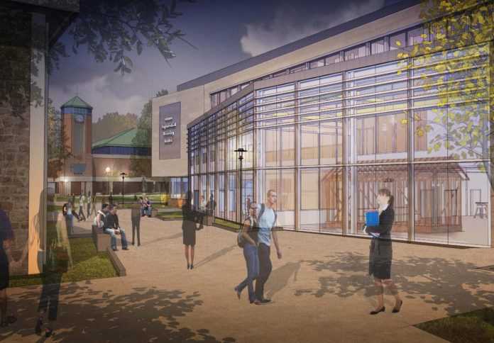 A RENDERING SHOWS the completed engineering, computing and construction-management labs at Roger Williams University, which has set a spring groundbreaking for the new building. / COURTESY BREWSTER THORNTON GROUP ARCHITECTS