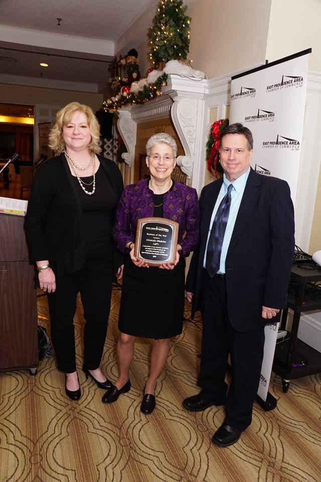 UNIVERSITY MEDICINE WAS named Business of the Year for 2017 by the East Providence Area Chamber of Commerce. Pictured, from left: Laura McNamara, executive director of the East Providence Area Chamber of Commerce; Dr. Angela M. Caliendo, vice president, director of general internal medicine at University Medicine; and Arthur Dwyer, chair of the East Providence Area Chamber of Commerce board of directors. / COURTESY NEWBERRY PUBLIC RELATIONS & MARKETING INC.