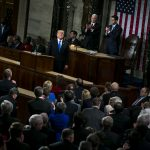 PRESIDENT DONALD TRUMP during the State of the Union address on Jan. 30. / BLOOMBERG FILE PHOTO/AL DRAGO