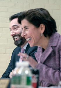 """PERSISTENT: Jesse Saglio, the new president and chief operating officer of R.I. Commerce Corp., at a public meeting of the board with Gov. Gina M. Raimondo. Saglio said Commerce's successes are due to """"dogged persistence,"""" which starts at the top with Raimondo. / PBN PHOTO/MICHAEL SALERNO"""