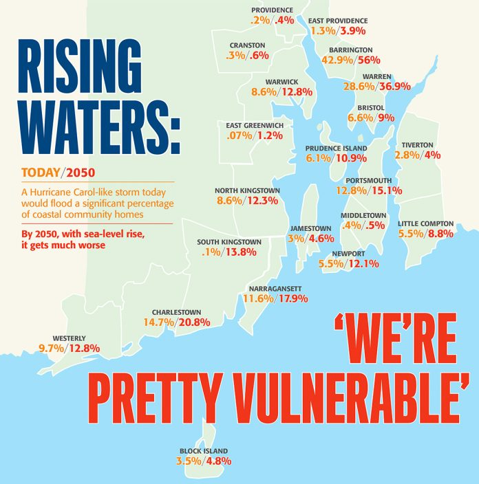 STORM SURGE: By 2065, a 100-year storm surge would damage approximately 13,736 homes in Warwick, Barrington, Narragansett, South Kingstown and North Kingstown, representing more than half of all homes in Rhode Island's 21 coastal communities, according to the R.I. Coastal Resources Management Council. / COURTESY R.I. COASTAL RESOURCES MANAGEMENT COUNCIL