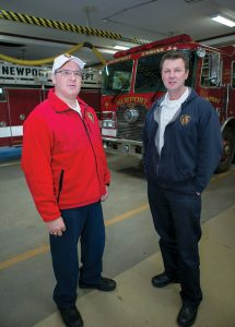 SMALL SPACE: Newport Fire Chief Brian T. Dugan, right, and Deputy Chief Paul Ripa at the Newport Fire Department. Dugan says the station doesn't have the space to accommodate a program such as PVD Safe Stations. / PBN PHOTO/KATE WHITNEY LUCEY