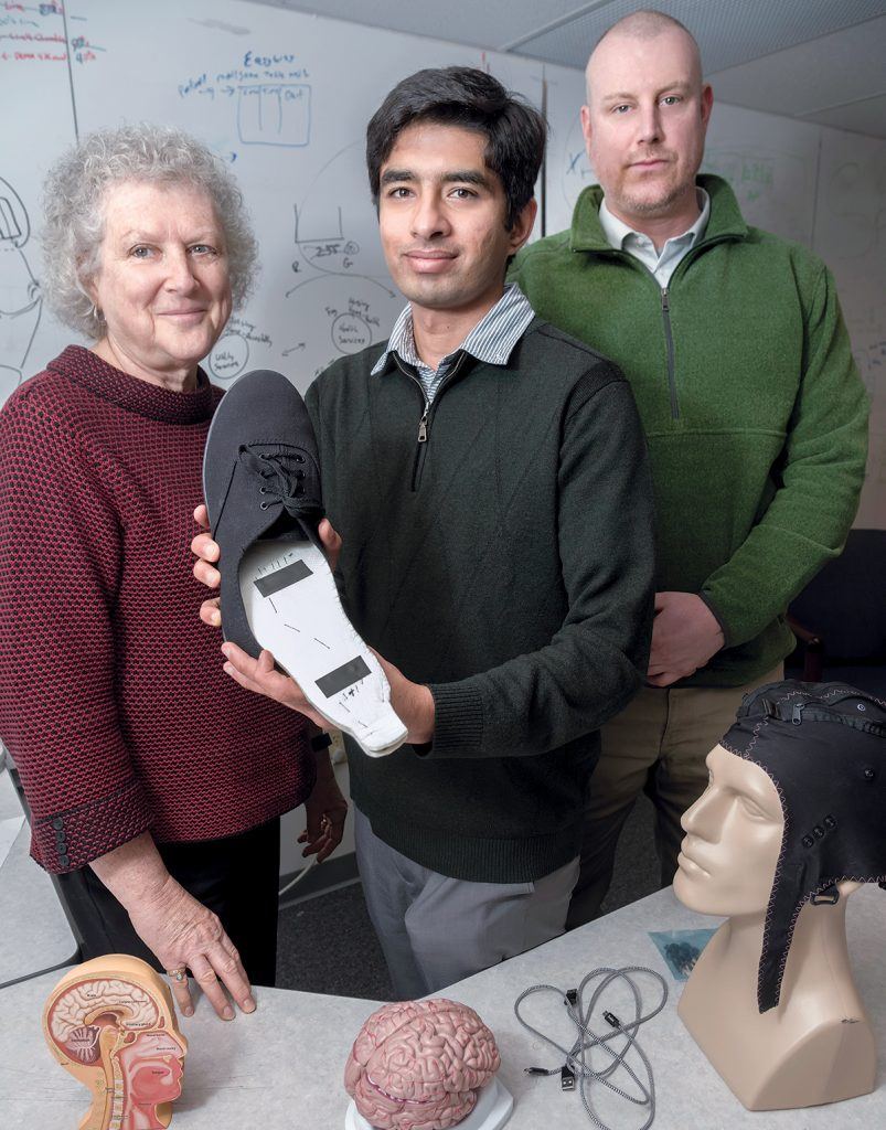 CO-FOUNDERS: From left, Patricia Burbank, Kunal Mankodiya and Benjamin Burbank co-founded Modus Tech-Wear LLC, a medical-technology startup in Providence. / PBN PHOTO/MICHAEL SALERNO