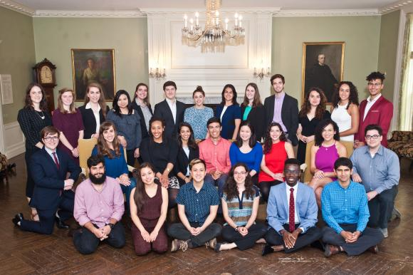 BROWN UNIVERSITY AND THE RHODE ISLAND SCHOOL OF DESIGN once again top the annual Chronicle of Higher Education's list of Fulbright Scholar and Student producers. Pictured are a group of some of the Brown Fulbright recipients for the 2017-2018 academic year. / COURTESY BROWN UNIVERSITY