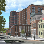 The revised design for the second phase of the Edge College Hill apartment building would pull the structure off the street and allow a greater view of the historical Congdon & Carpenter Building./DBVW Architects.