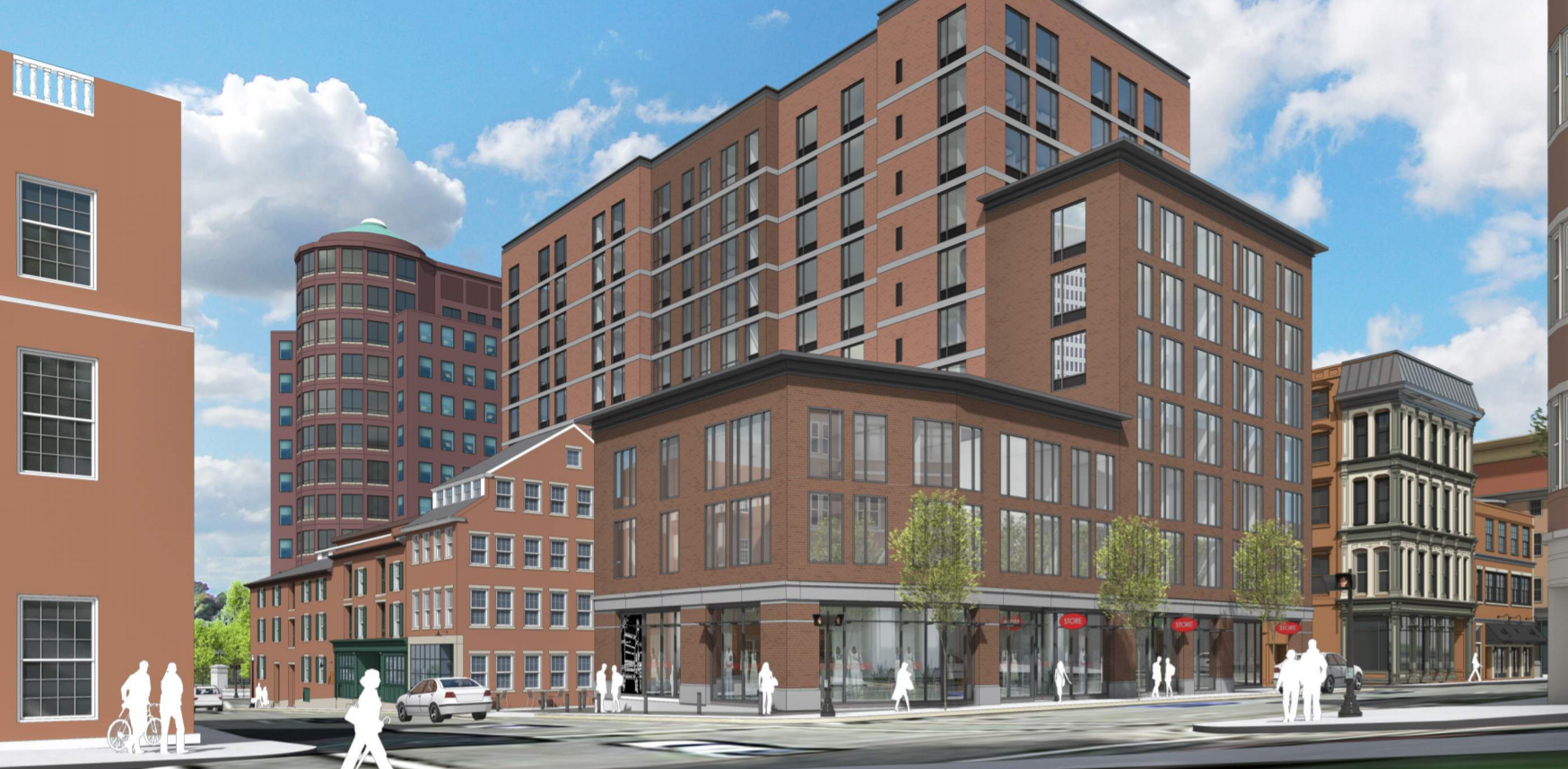 This view shows the detail of the proposed building exterior, and how it would appear from the site of the First Baptist Church./DBVW Architects.