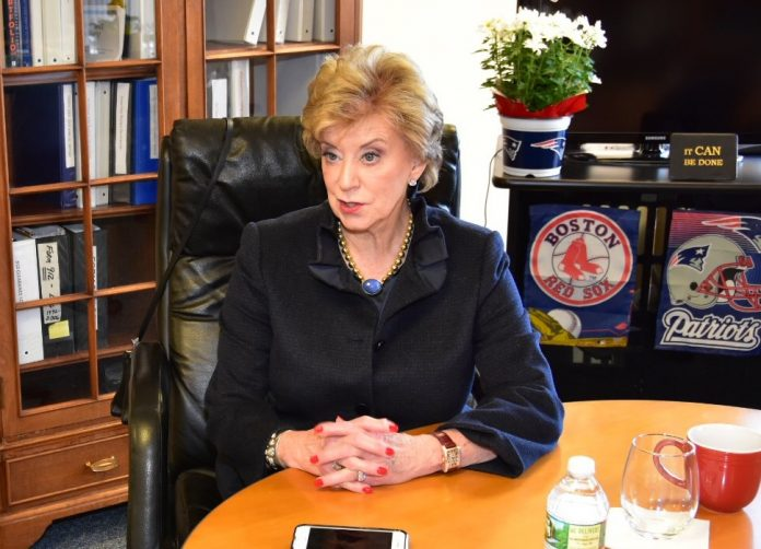 LINDA MCMAHON, administrator of the U.S. Small Business Administration, visited the Rhode Island district office in February./ SBA RHODE ISLAND/ RYAN P. BRISSETTE