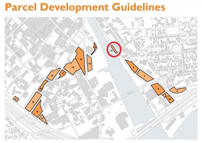PARCEL 1A, a section of undeveloped land in the Interstate 195 Redevelopment District in Providence, was included on the Providence Preservation Society's Most Endangered Properties list because it is threatened by inappropriate development. / COURTESY INTERSTATE 195 REDEVELOPMENT DISTRICT COMMISSION