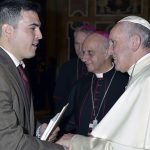 MIGUEL ROMERO, assistant professor of religious and theological studies at Salve Regina University in Newport, meets Pope Francis during a visit to Vatican City to present research. / COURTESY SALVE REGINA UNIVERSITY