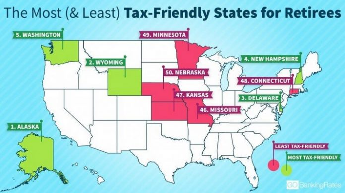 RHODE ISLAND WAS JUDGED to be among the 10 least tax-friendly states for retirees, according to personal finance website GoBankingRates.com. / COURTESY GOBANKINGRATES.COM