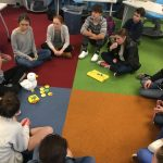 DURING A VISIT to Rocky Hill School in East Greenwich, Sproutel co-founder Hannah Chung discusses My Special Aflac Duck and the experiences it offers children receiving cancer treatments. / COURTESY ROCKY HILL SCHOOL