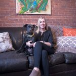 MANY ROLES: Tuni Schartner, owner of TS Consulting, chief marketing officer of The Mill at Lafayette and director of The Hive co-working space, still finds time with her dog Homer. / PBN PHOTO/­MICHAEL SALERNO