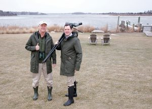 WATERPROOF: Simon Dewar, right, general manager of the Weekapaug Inn in Westerly, and in-house naturalist Mark Bullinger wear waterproof apparel, including boots, available to guests through the inn's Hunter Boots lending closet. / PBN PHOTO/BRIAN MCDONALD