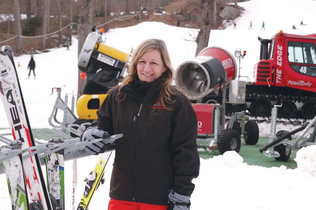 SOLE SURVIVOR: Tracy Hartman is the CEO of Yawgoo Valley, the only ski park still in operation in Rhode Island. The business has remained viable by diversifying its offerings, adding a water park in 1991 and a snow-tubing hill in 1995. / PBN PHOTO/BRIAN MCDONALD