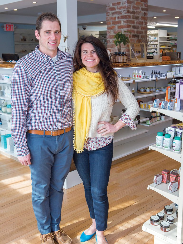 HOMEGROWN: Owners ­Matthew and Erika Olivier sell locally made health and beauty products at Matt's Local Pharmacy in ­Middletown. / PBN PHOTO/KATE WHITNEY LUCEY