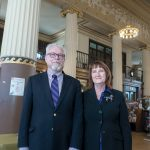 KNIGHT STEWARDS: Jeffrey Cannell, library director of the Providence Community Library network, and Sue Gibbs, chief operating officer, inside the Knight Memorial Library, which has received $544,800 from the Champlin Foundation to go toward much-needed renovations. / PBN PHOTO/MICHAEL SALERNO