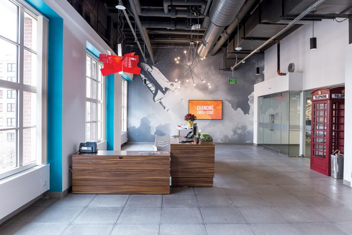 HEALTHY ENVIRONMENT: The building materials for Virgin Pulse's new corporate headquarters in Providence were selected with a focus on sustainability, recycled content and green certifications for improved air quality.