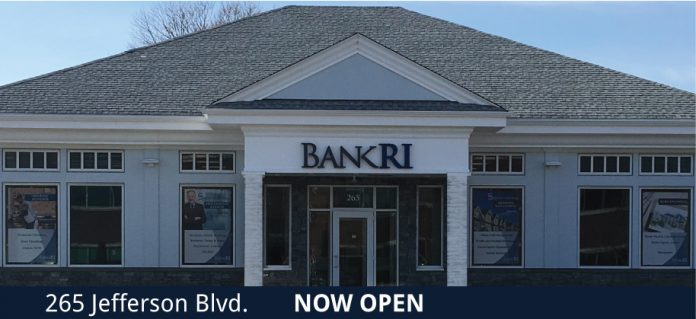 THE BANK RHODE ISLAND branch at 265 Jefferson Blvd. in Warwick, above, reopened on Feb. 26. The branch was previously located on Centreville Road in Warwick. / COURTESY BANKRI